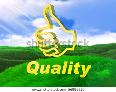 Thumb up quality icon symbol - stock photo