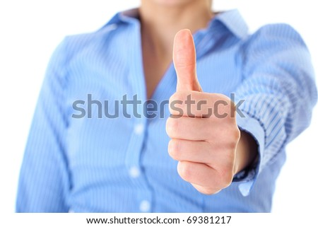 thumb up shown by businesswoman in blue shirt, isolated on white - stock photo