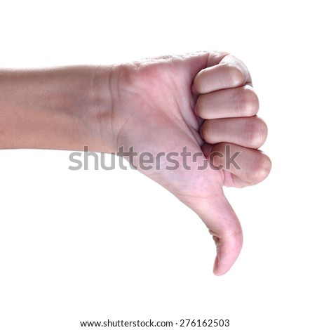thumbs down sign against white background ,unlike - stock photo