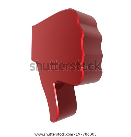 Thumbs down sign - red . 3d render. White background.  - stock photo