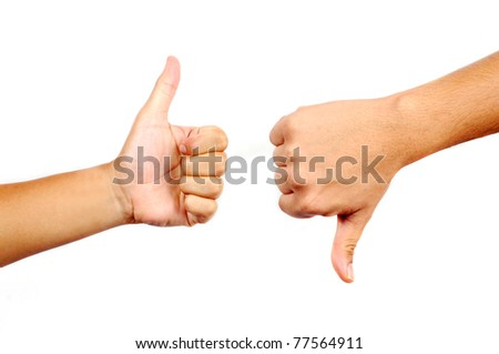 Thumbs up and down in isolated white background - stock photo
