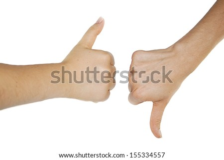 Thumbs up and down isolated on white background - stock photo