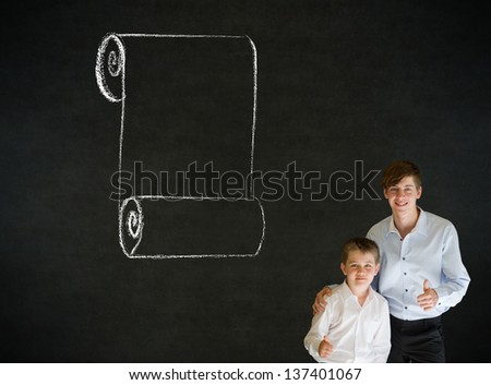 Thumbs up boy dressed up as business man with teacher chalk menu scroll checklist on blackboard - stock photo