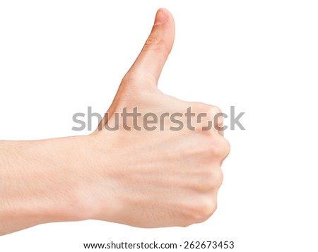 Thumbs up gesture of a male hand isolated on white. - stock photo