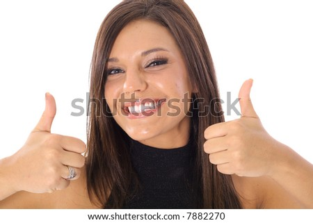 thumbs up model - stock photo