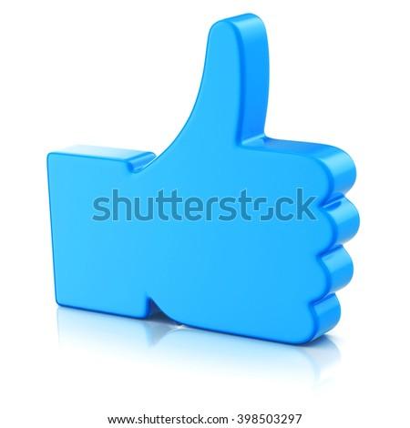 Thumbs up symbol isolated on white background  3d illustration - stock photo