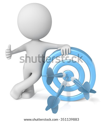 Thumbs up Target. Dude 3D character giving thumbs up holding blue dartboard with blue darts.  - stock photo
