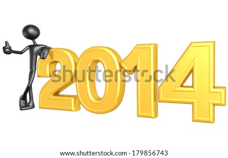 Thumbs Up With The Year - stock photo