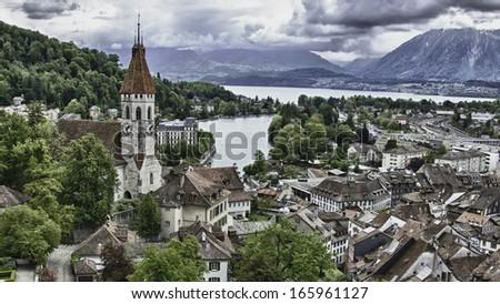 Thun Switzerland landscape - stock photo