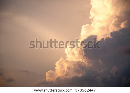 Thunderhead Heavenly Sky and White Storm Clouds Background Cloudy Skies Texture Skyscape Pattern - stock photo
