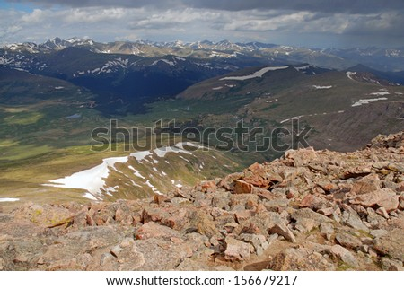 Thunderstorm Approaching on the Summit of Mount Bierstadt Colorado Rockies - stock photo