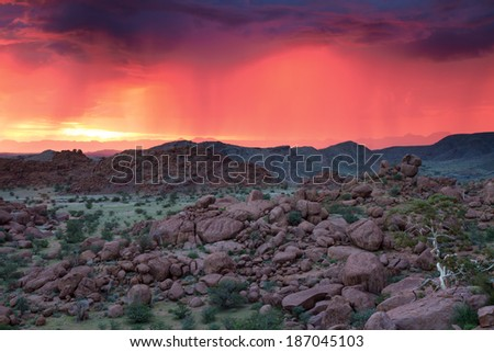 Thunderstorm at sunset in Damaraland, Namibia - stock photo