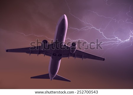 thunderstorm over the aircraft  - stock photo