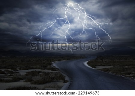 Thunderstorm over the Road - stock photo