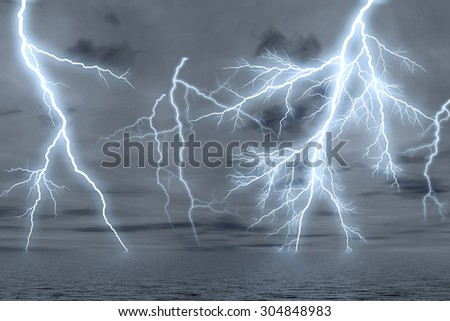 Thunderstorm over the sea, digitally generated image. - stock photo