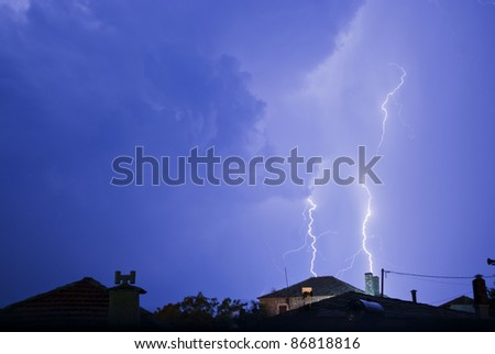 Thunderstorm with lightening at night. - stock photo