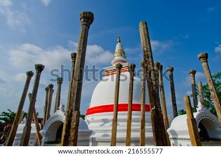 Thuparama Dagoba in UNESCO enlisted Anuradhapura, Sri Lanka - stock photo