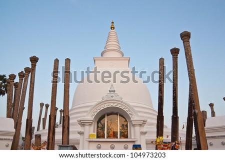 Thuparamaya dagoba in Anuradhapura, Sri Lanka - stock photo