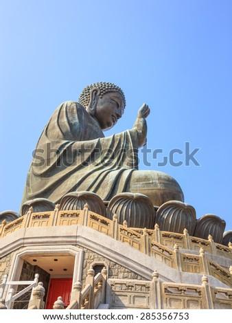 Tian Tan Buddha at Ngong Ping, Lantau Island, in Hong Kong - stock photo