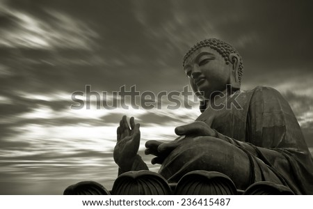 Tian Tan Buddha in Hong Kong,It is worlds's tallest bronze Buddha - stock photo