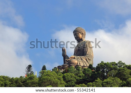 Tian Tan Giant Buddha overlooking with love from Hong Kong China - stock photo