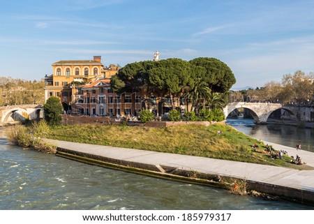 Tiber Island in Rome, Italy - stock photo