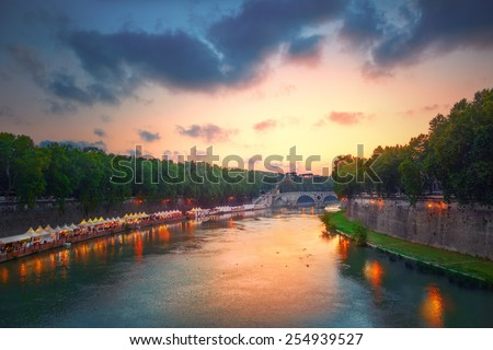 Tiber river and Rome city view - stock photo