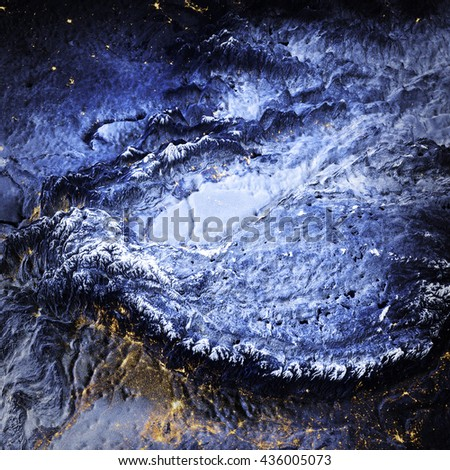 Tibet and Himalayas. Elements of this image furnished by NASA. 3D rendering - stock photo
