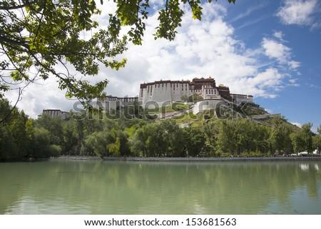 Tibet the Potala Palace lake - stock photo
