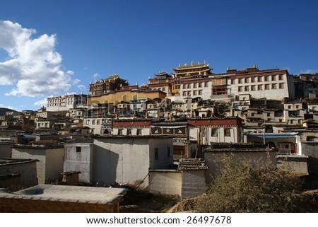 Tibetan buddhist monastery - stock photo