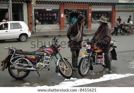 Tibetan men - stock photo