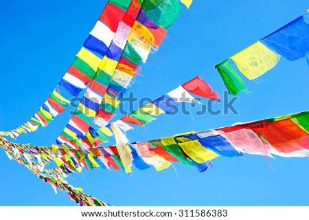 Tibetan prayer flags,Nepal - stock photo