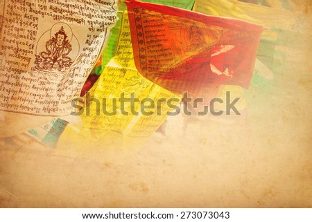 Tibetan prayer flags vintage color tone background - stock photo