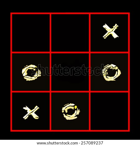 Tic Tac Toe -  Empty center waiting for next move - stock photo