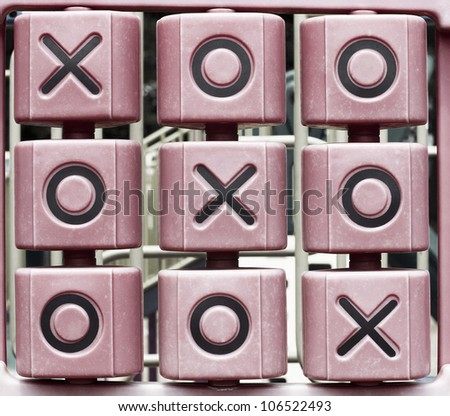 Tic Tac Toe game in a park - stock photo