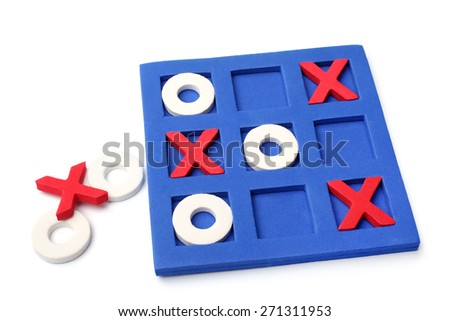 Tic-tac-toe game on white background - stock photo