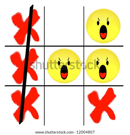 tic tac toe game with angry smiley face losing - stock photo