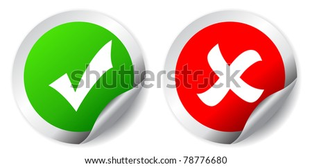 Tick and cross icons - stock photo