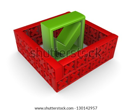 Tick mark behind a wall of red cross marks. - stock photo