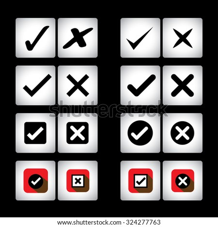 tick mark & cross sign graphic icons set on black background. This graphic can also represent selection options of right, wrong, also valid, invalid, true false, correct, incorrect, yes, no - stock photo