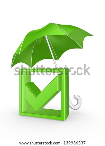 Tick mark under umbrella.Isolated on white.3d rendered. - stock photo