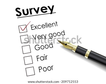 tick placed in excellent check box with fountain pen over survey paper - stock photo