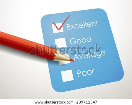 tick placed in excellent check box with red pen over blue check list  - stock photo