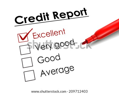tick placed in excellent check box with red pen over credit report - stock photo