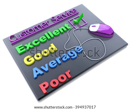 Tick placed in excellent checkbox on customer service satisfaction survey form in the design of access to information relating to the business - stock photo