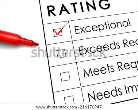 tick placed in exceptional check box with red pen over rating survey - stock photo