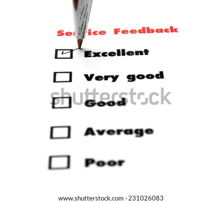 Tick placed you select choice.  excellent,very good,good,average,poor - check excellent - stock photo