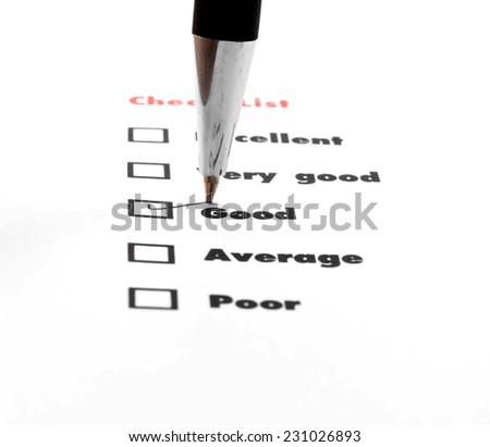 Tick placed you select choice.  excellent,very good,good,average,poor - check good - stock photo