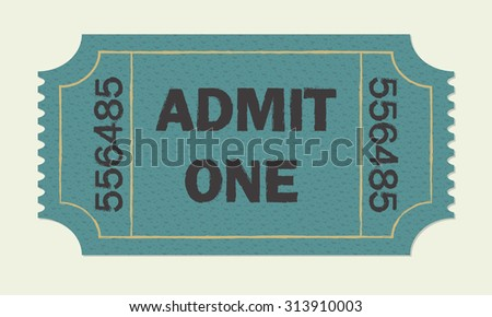Ticket icon. Cinema or theater retro ticket. - stock photo