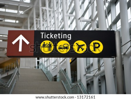 Ticketing Sign in main terminal at Seattle (Sea-Tac) airport - stock photo